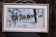 """Картина """"Стая волков"""" вышивка крестик ручной работы."""