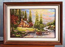 """Картина """"Горный пейзаж"""" вышивка крестик ручной работы."""