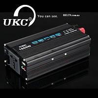 Инвертор автомобильный 1000Вт, преобразователь напряжения UKC 1000W 12V-220V (black series)