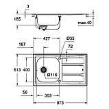 Звоните. Будет дешевле. Набор кухонная мойка Grohe EX Sink 31570SD0 K400 смеситель Concetto 32663001, фото 3