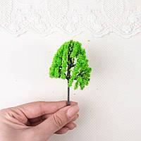 Искусственное Дерево для Диорамы и Миниатюры 9.5 см ЯРКО-ЗЕЛЕНОЕ