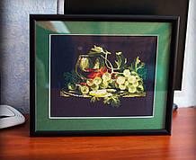 """Картина - натюрморт """"Виноград"""" вышивка крестик ручной работы."""