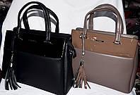 Женские сумки Премиум класса с лаковой вставкой 34*24 см (хаки и черная)