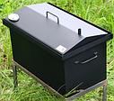 Домашняя коптильня для горячего копчения домик окрашенная с термометром 520х300х310, фото 2
