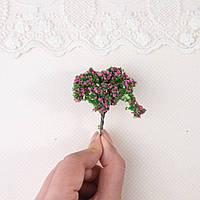 Искусственное Дерево для Диорамы и Миниатюры 6 см ЗЕЛЕНОЕ с ФУКСИЕЙ витое