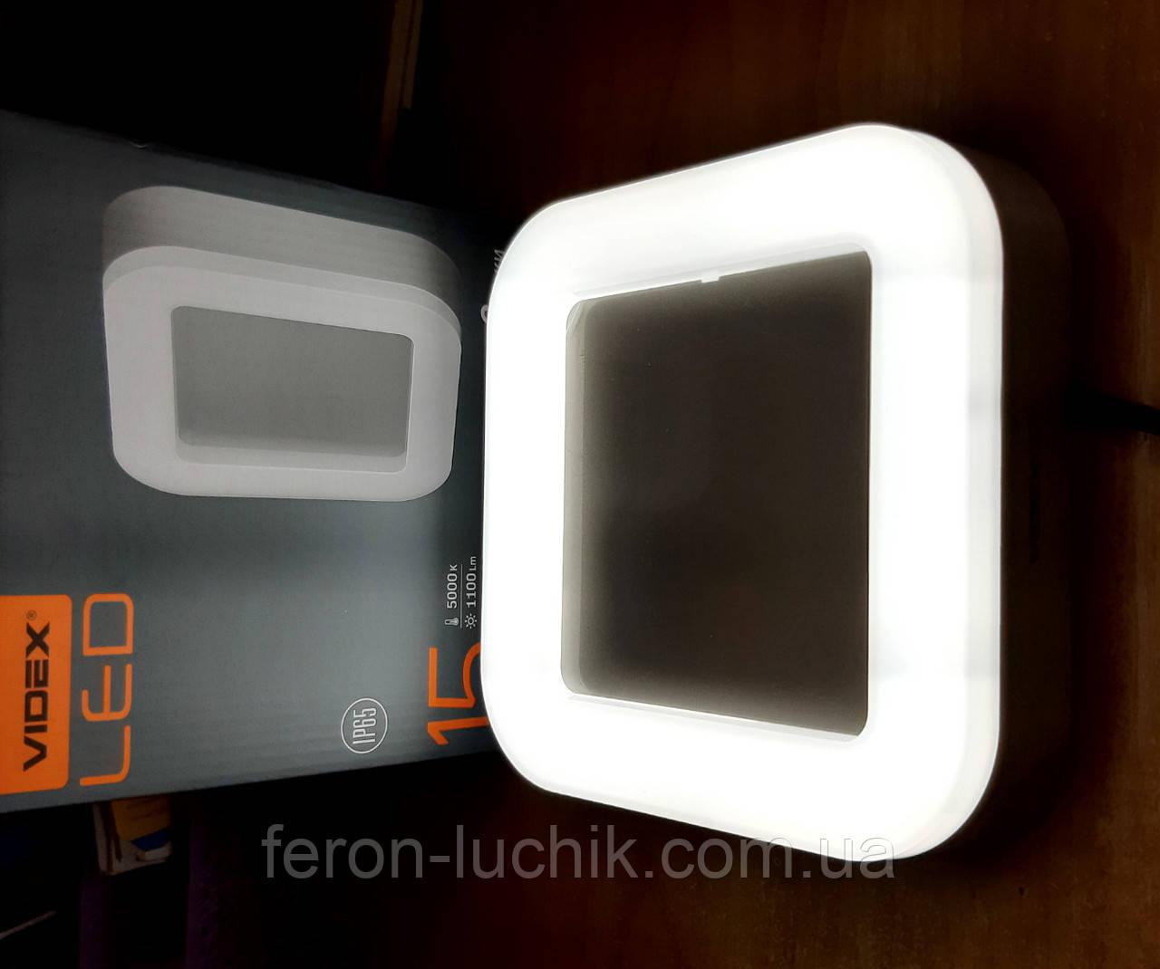 Настенно потолочный LED светильник 15W IP65 5000К 220V VIDEX накладной квадратный светодиодный