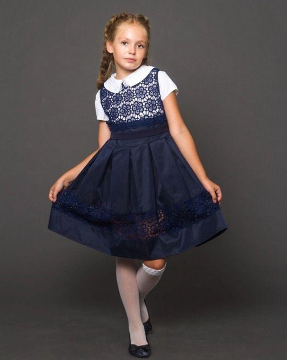 Сарафан школьный без рукавов для девочки, макраме наверху и коттон внизу,  LARSY (размер 128)