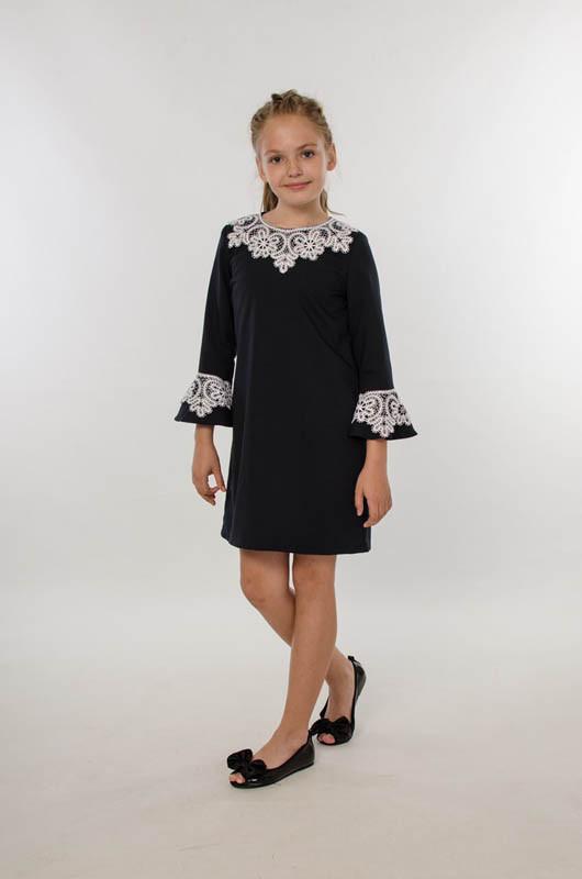 Платье школьное для девочки с рукавом 3/4, кружево по воротнику и рукавам, оптом ПАК/6шт  (р.122-152) LARSY