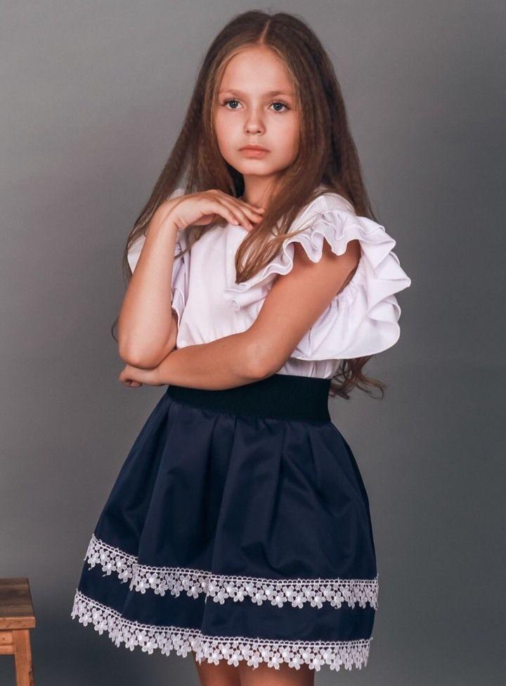 Юбка школьная для девочки,  кружевной низ, ткань мэмори, оптом ПАК/4 шт (р.122, 134, 146,158), LARSY