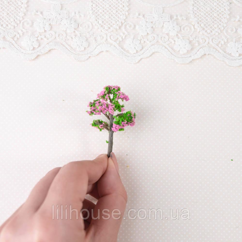 Искусственное Дерево для Диорамы и Миниатюры 5.5 см ЗЕЛЕНОЕ с РОЗОВЫМ