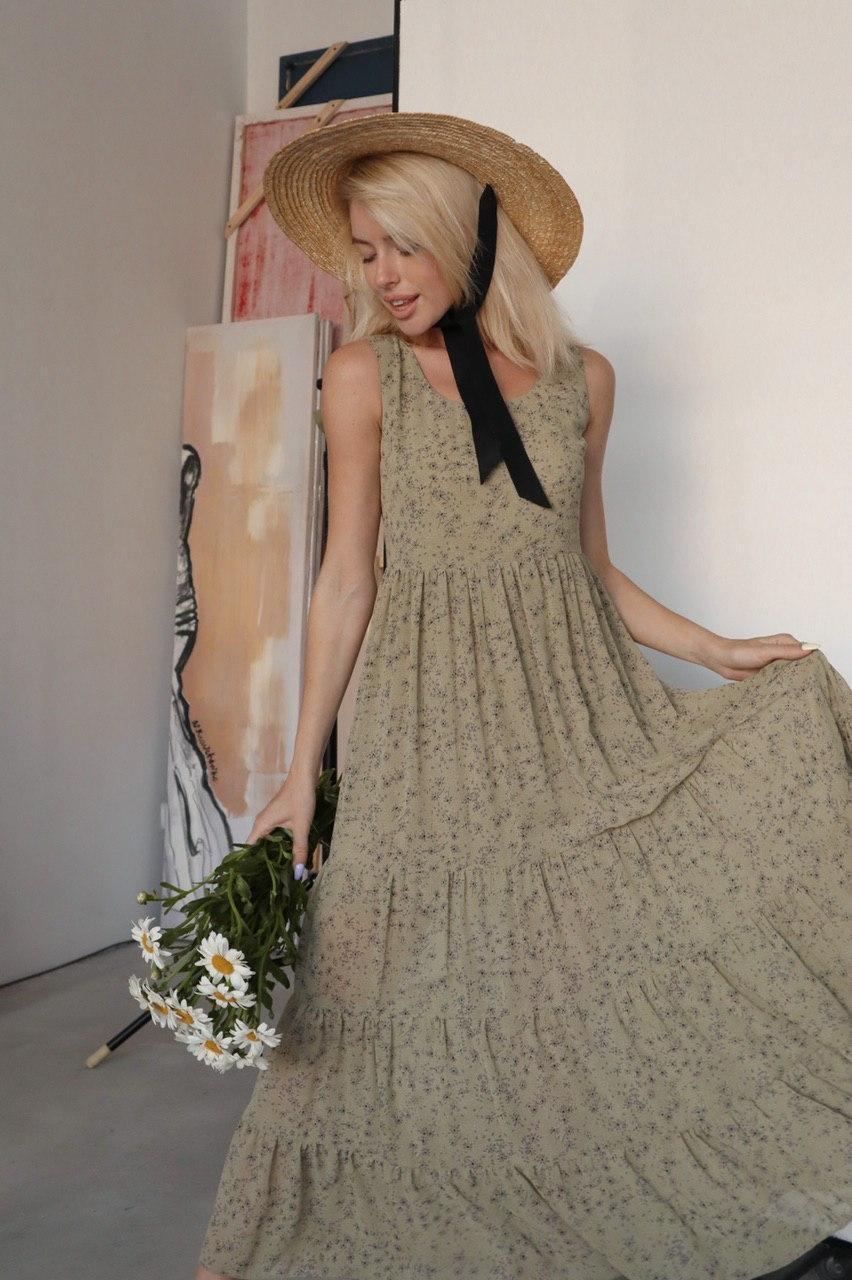 Легкое шифоновое платье в цветочный принт