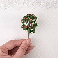 Искусственное Дерево для Диорамы и Миниатюры 7 см ЗЕЛЕНОЕ с розовыми ягодками