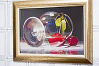 """Картина - натюрморт """"Вишня в бокале"""" вышивка крестик ручной работы."""