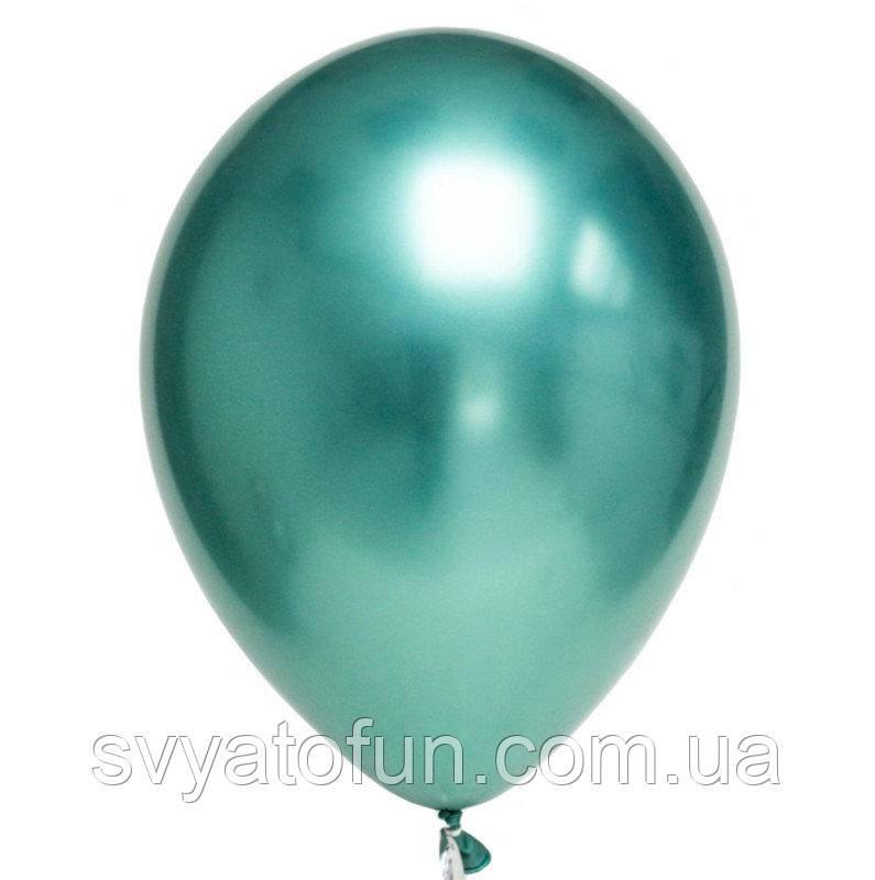 """Латексный воздушный шарик хром 10""""(26см) зеленый 1шт Китай"""