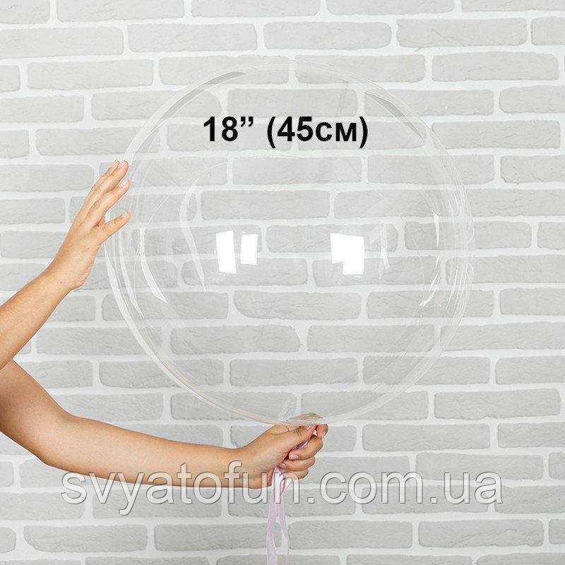 """Надувной круглый шар Bubbles без рисунка 18""""(45см) прозрачный Китай"""