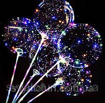 """Воздушный круглый шар Bobo светящийся 18""""(45см) на палочке прозрачный Китай"""