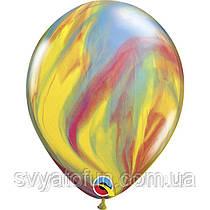 """Латексные воздушные шарики пастель 11"""" агат обычный 10шт Qualatex"""