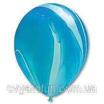 """Латексные воздушные шарики пастель 11"""" агат голубой 10шт Qualatex"""