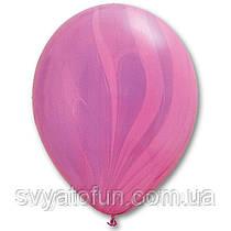 """Латексные воздушные шарики пастель 11"""" агат розово-фиолетовый 10шт Qualatex"""