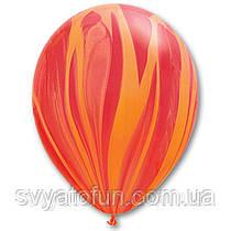 """Латексные воздушные шарики пастель 11"""" агат красно-оранжевый 10шт Qualatex"""