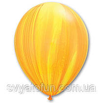 """Латексные воздушные шарики пастель 11"""" агат желто-оранжевый 10шт Qualatex"""