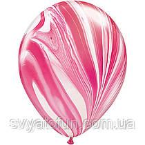 """Латексные воздушные шарики пастель 11"""" агат красно-белый 10шт Qualatex"""
