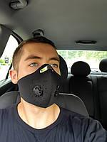 Чёрная защитная маска  HLight с клапаном+ 5 сменных фильтров, фото 8