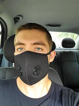 Чёрная защитная маска ZLight с клапаном+1 фильтр в ПОДАРОК