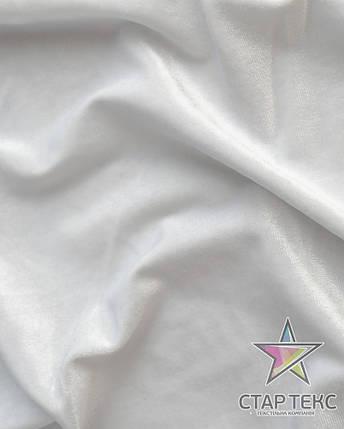 Бархат (Оксамит) стрейч Белый, фото 2