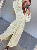 Длинный домашний халат белый со звездочками, фото 1