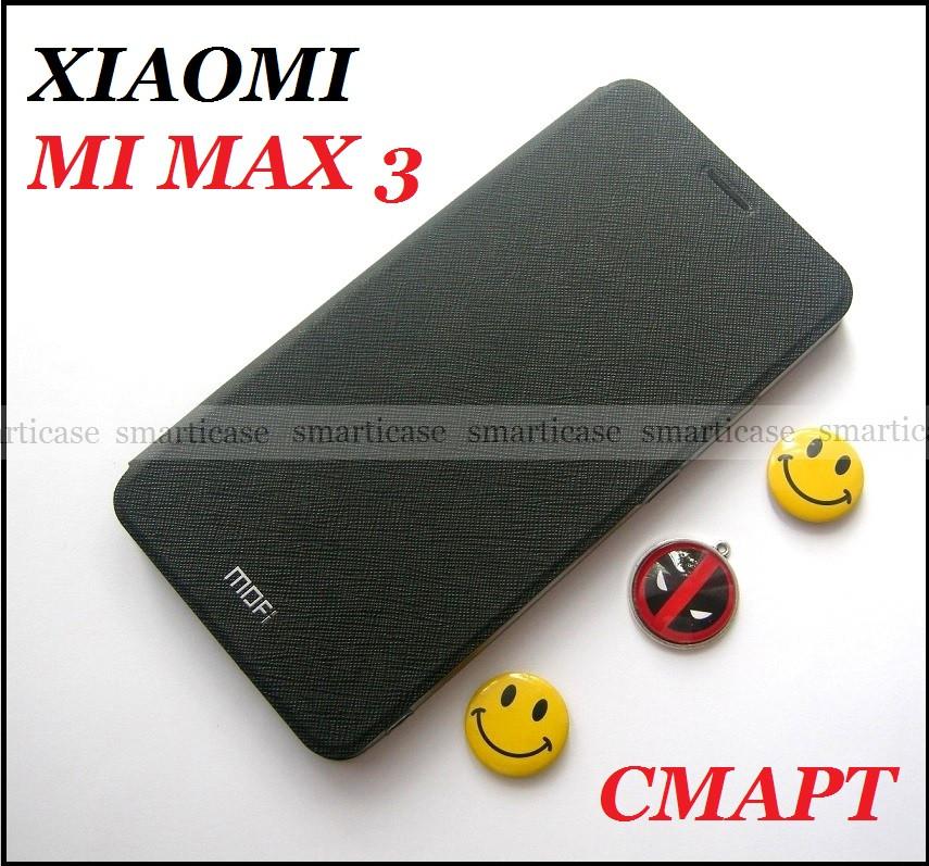 Умный черный чехол для Xiaomi Mi max 3 Black, чехол книжка Mofi
