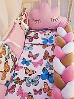 Детский набор постельного белья для новорожденных в кроватку Bonna Коса с облаком, бабочки, розовый