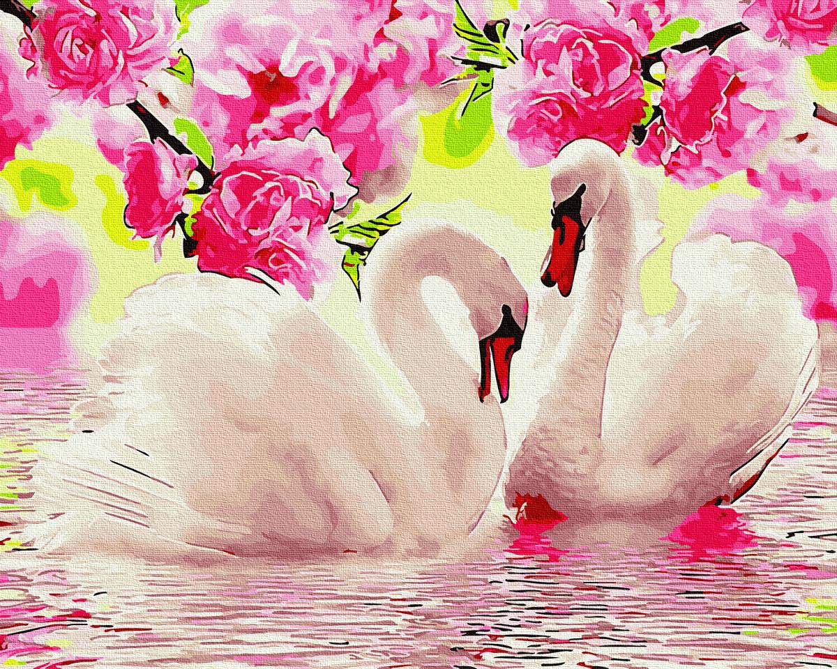 Лебеді у квітах