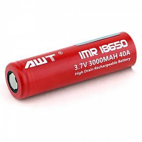 Высокотоковый аккумулятор AWT 18650 3000 мАч 40А батарейка, фото 2