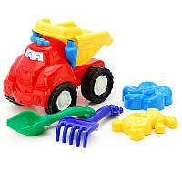 """Машина """"Смайл"""" самосвал №2: машинка, лопатка и грабельки (ЛГ4), две большие пасочки (П4)"""