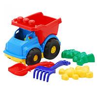 """Машина """"Тотошка"""" самосвал №2: машинка, лопатка и грабельки (ЛГ4), две большие пасочки (П5)"""