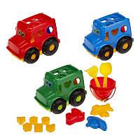 "Сортер-автобус ""Бусик"" №3: автобус, ведёрко, лопатка и грабельки (ЛГ3), три пасочки (П3)"
