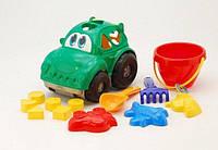 """Сортер-машина """"Автошка"""" №3: машина с вкладышами, ведёрко, лопатка и грабельки (ЛГ3) и три пасочки ("""