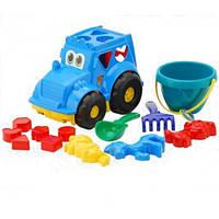 """Сортер-трактор """"Кузнечик"""" №3: трактор с вкладышами, ведёрко, лопатка и грабельки (ЛГ3), три пасочки"""