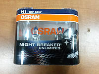 "Лампа галогеновая H1 12V 55W  ""OSRAM"" +110% Night Breaker Unlimited - производства Германия, фото 1"