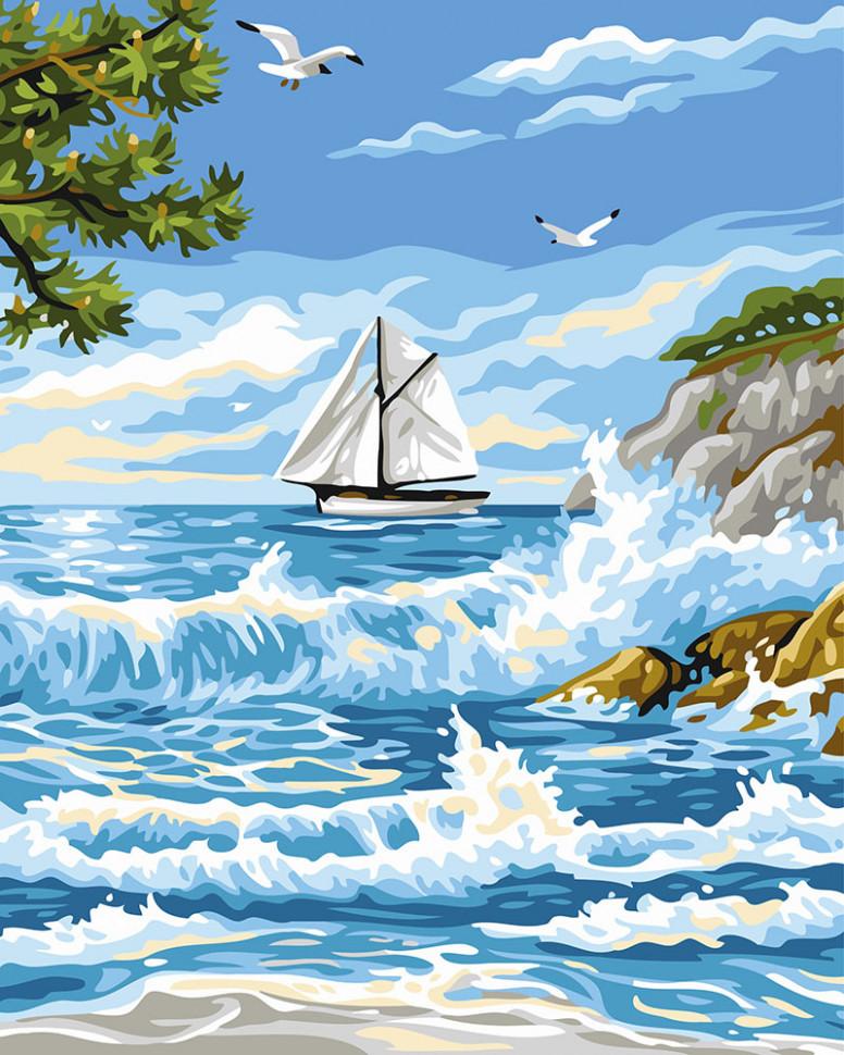 Картина по номерам. Brushme  Прибой у острова