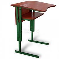 Антисколиозный аудиторный стол одноместный регулируемый по высоте с передней панелью и полкой, фото 1