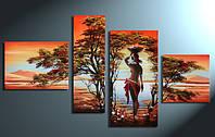 """Картина - триптих """"Африка"""" вышивка крестик ручной работы."""