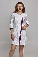 Женский медицинский халат с ассиметричной застежкой ( 3 расцветки)