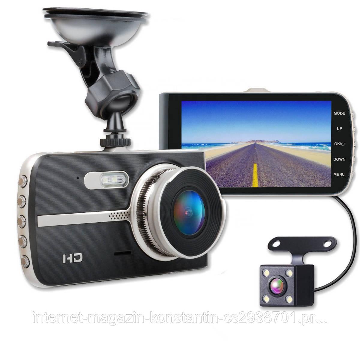 """Автомобильный Видеорегистратор DVR T653 4"""" Full HD на 2 камеры! ТОП КАЧЕСТВО!"""