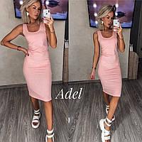 Платье-майка женское рубчик розовое 105