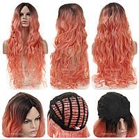 Самый длинный волнистый парик из искусственных волос Erin AT без челки, термоволосы, цвет розовый