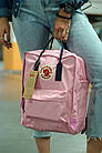 Городской Рюкзак Fjallraven Kanken Classic 16 л Розовый Персик с темно-синей ручкой, фото 2