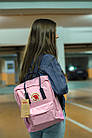 Городской Рюкзак Fjallraven Kanken Classic 16 л Розовый Персик с темно-синей ручкой, фото 4
