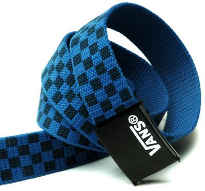 Ремень Пояс Vans Belt в клетку 100 см Черно-Синий